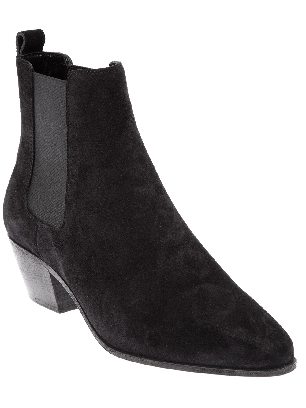 Saint laurent Suede Ankle Boots in Black - Save 11% | Lyst