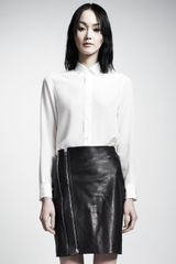 Saint Laurent Leather Zipfront Skirt - Lyst