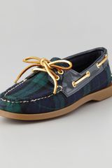 Sperry Top-sider Authentic Original Plaid Boat Shoe Navygreen - Lyst