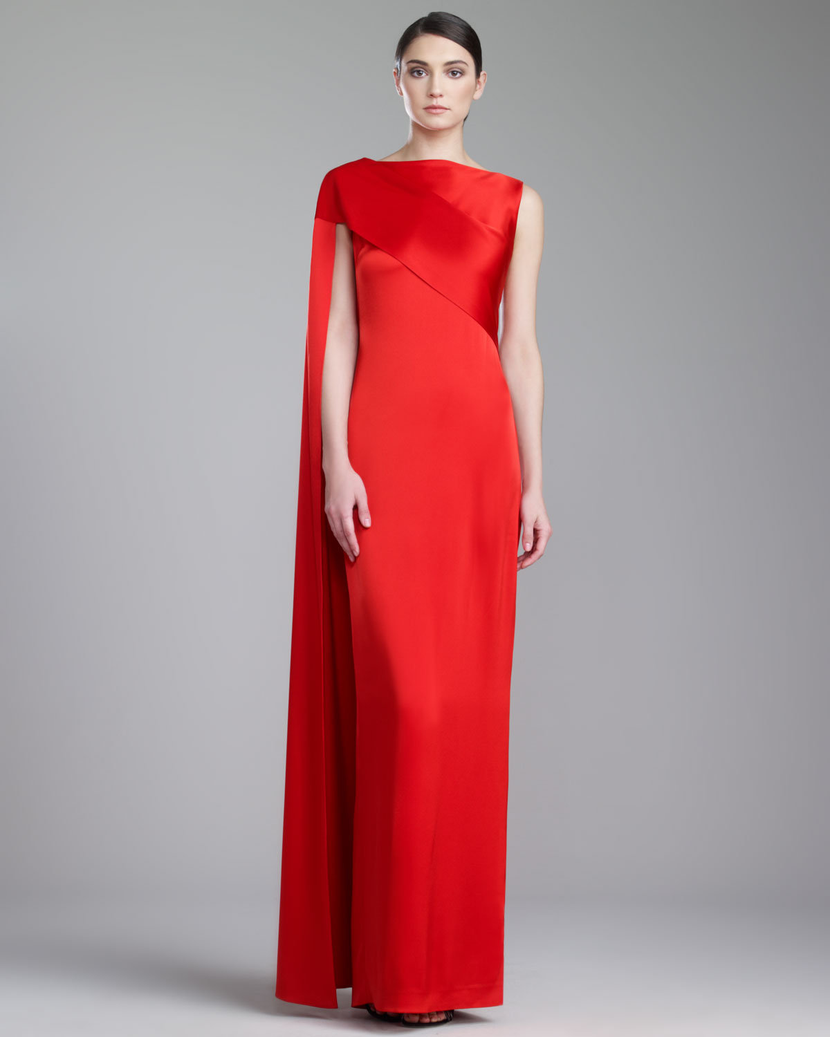 St. john Liquid Satin Gown Venetian Red in Red | Lyst