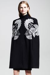 Stella McCartney Flowerfeather Embroidered Cape Coat - Lyst