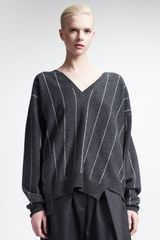 Stella McCartney V Neck Sweater with Intarsia Stripes - Lyst