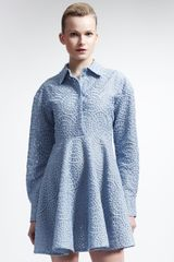 Stella McCartney Long-sleeve Lace Circle Dress Oxford Blue - Lyst