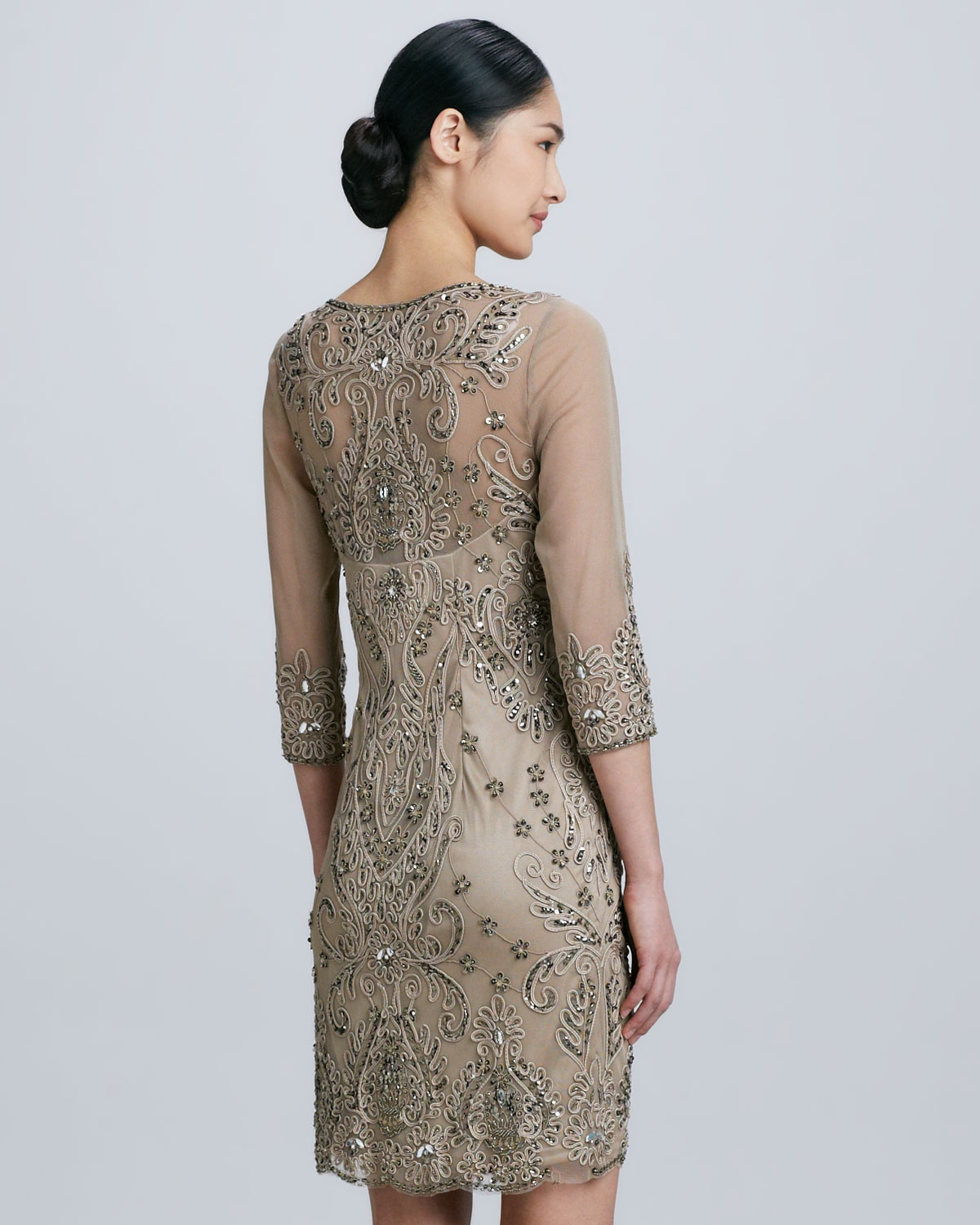 Lyst - Sue wong Threequarter Sleeve Cocktail Dress in Natural