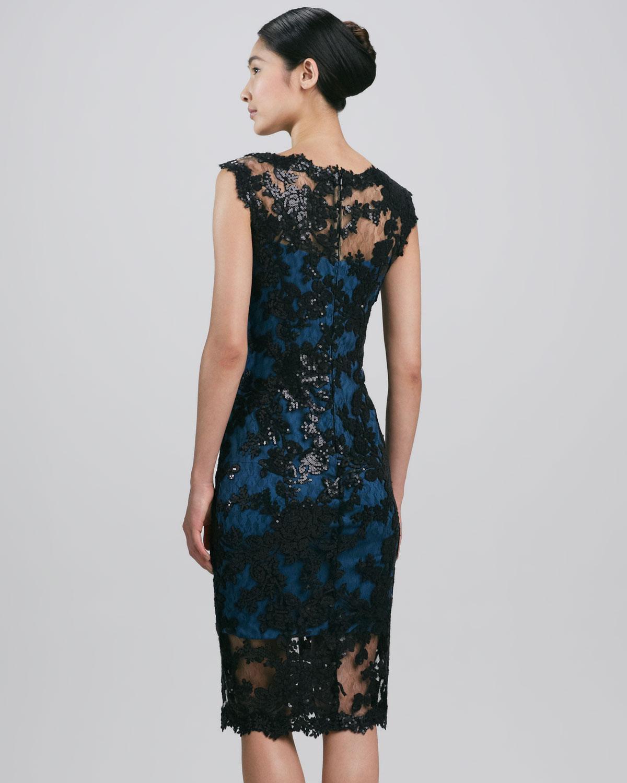 51b0838785a2 Tadashi Shoji Sleeveless Scalloped Lace Cocktail Dress in Blue - Lyst
