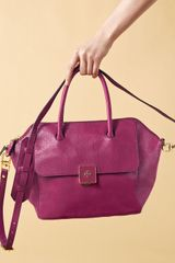 Tory Burch Clara Leather Satchel Bag Pink - Lyst