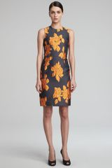Vera Wang Rose Jacquard Sheath Dress Tangerine-black - Lyst