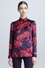 Versace Tiger Print Long Sleeve Blouse - Lyst