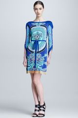 Versace Threequarter Sleeve Printed Dress - Lyst