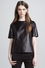Vince Sideslit Leather Tee Mulberry - Lyst