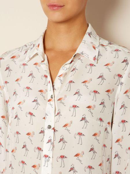 Weekend By Maxmara Trau Flamingo Print Blouse In White