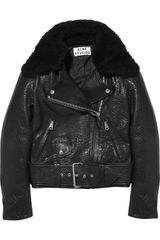 Acne Mape Shearling Collar Leather Biker Jacket - Lyst