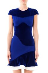 Alexander McQueen Velvet and Crepe Ruffle Dress - Lyst