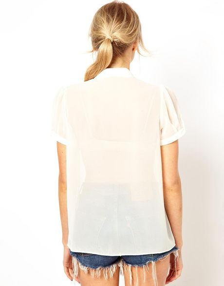 White Bow Blouse H&M 30
