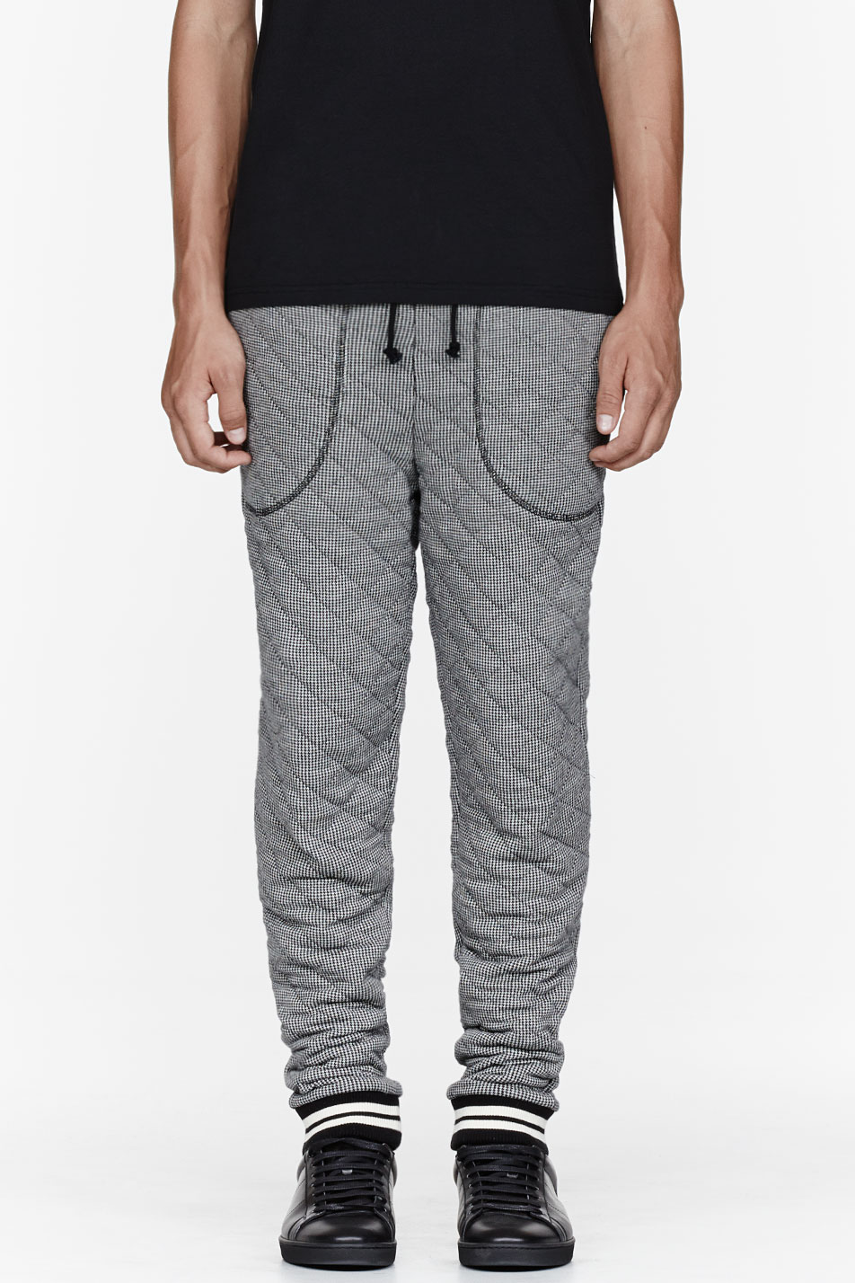 Band Of Outsiders Black Quilted Houndstooth Jogging Pants