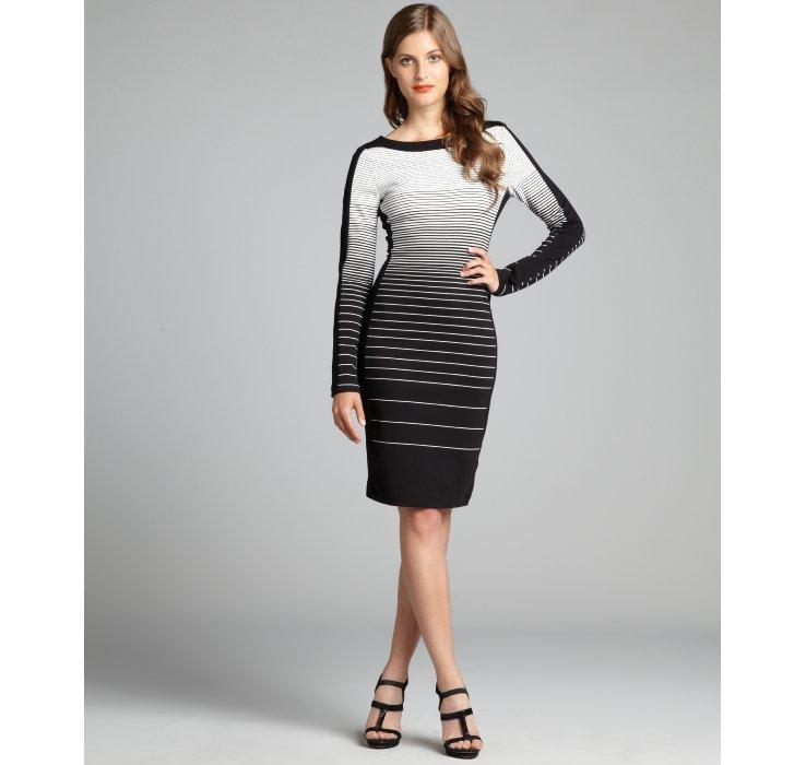 Lyst Bcbgmaxazria Black And White Striped Jersey Knit