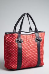 Betsey Johnson Red Black and White Scuba Gal Tote - Lyst