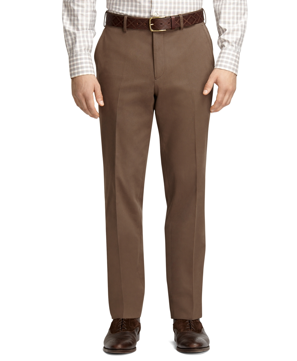 Brooks Brothers Plain Front Taupe Dress Chinos In Brown