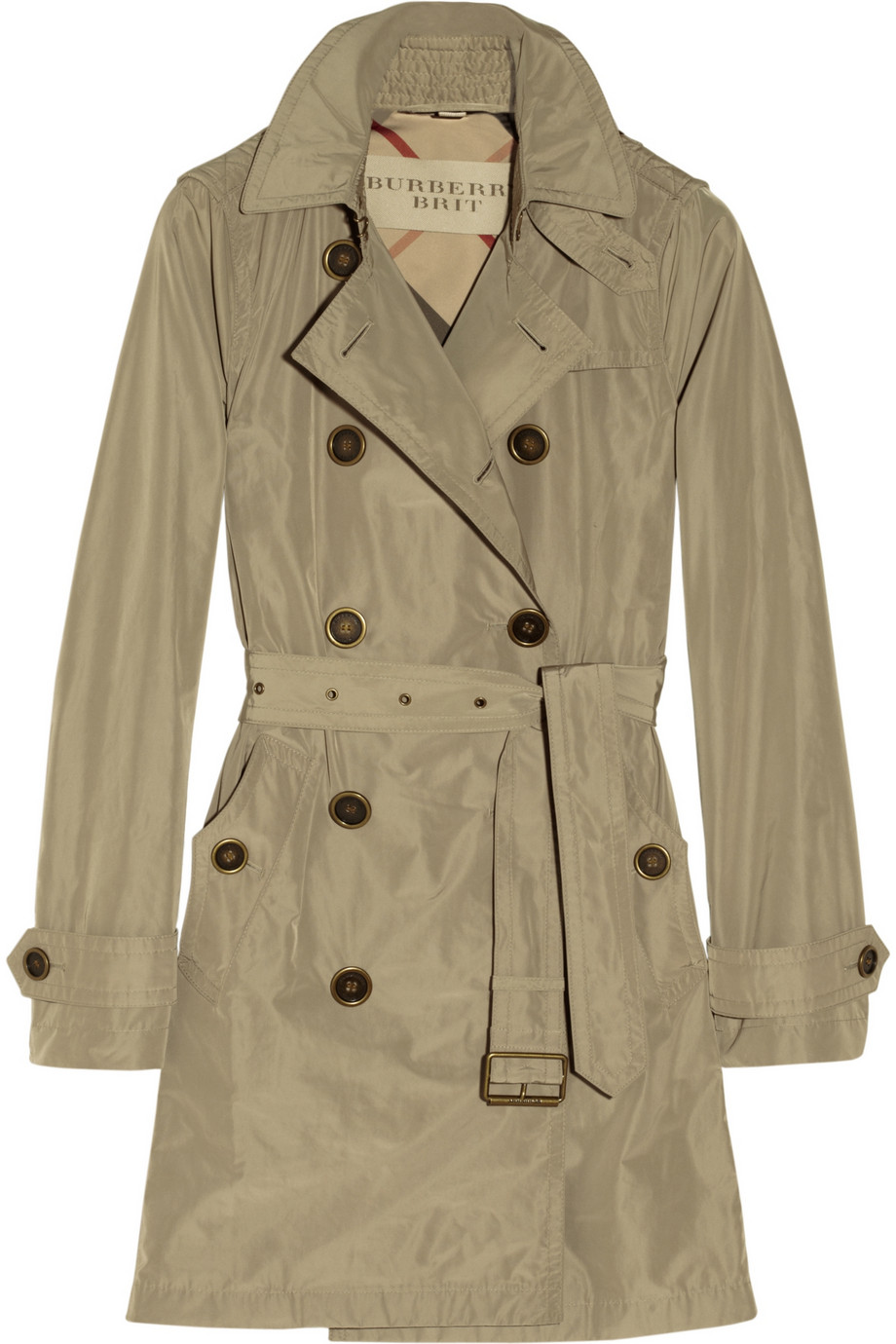 burberry brit hooded packaway trench coat in beige neutrals. Black Bedroom Furniture Sets. Home Design Ideas