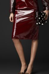 Burberry Laminated Leather Pencil Skirt - Lyst