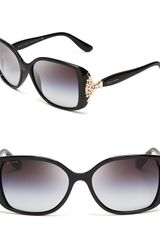 Bvlgari Square Crystal Temple Sunglasses - Lyst