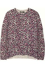 DKNY Leopard-print Wool-blend Sweater - Lyst