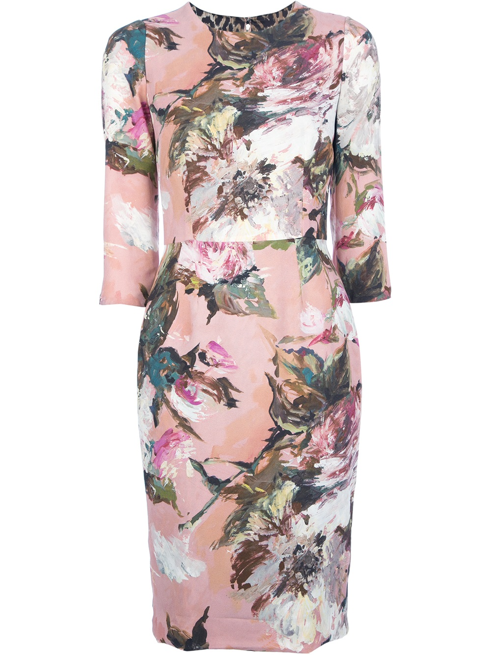 Dolce Amp Gabbana Floral Print Dress In Pink Lyst