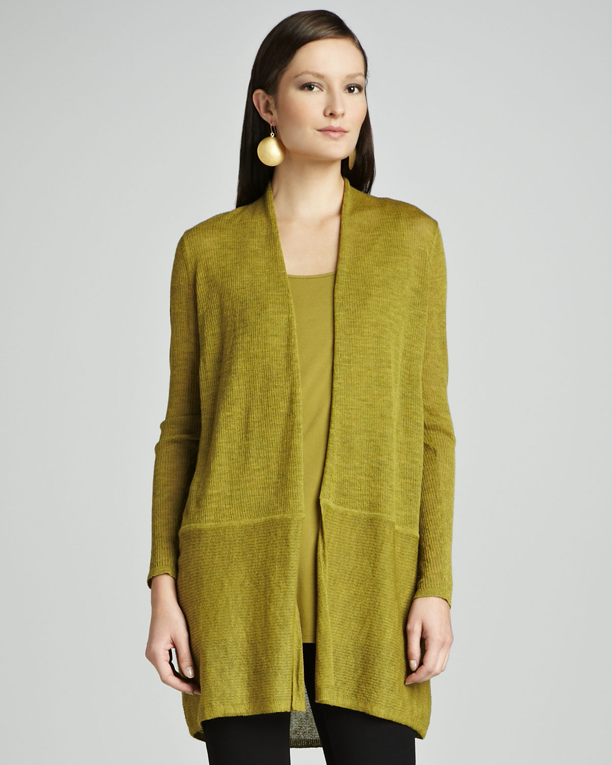 Eileen fisher Ethereal Washable Wool Cardigan in Green | Lyst