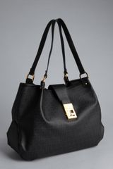 Fendi Black Zucchino Spalmati Forever Shoulder Bag - Lyst