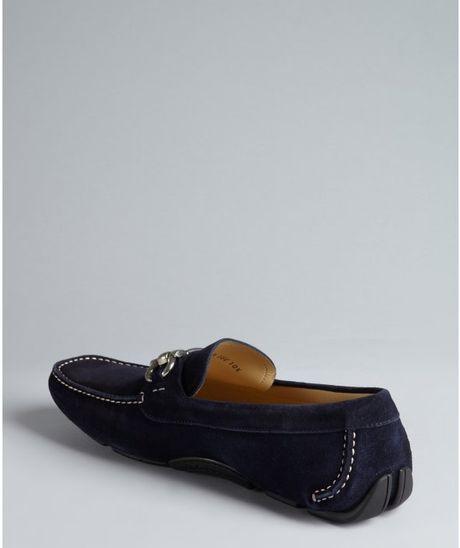 ead9db48d1571 ... Navy Suede Loafers: Ferragamo Navy Suede Parigi Buckle Loafers In Blue  For Men