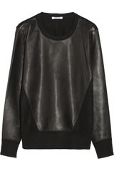 Helmut Lang Leather and Wool Sweatshirt - Lyst