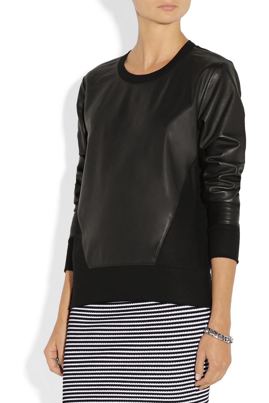Helmut lang leather and wool sweatshirt in black lyst - Sweatshirt kleid lang ...