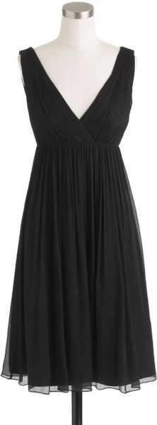 J.crew Brigitte Dress in Silk Chiffon in Black - Lyst