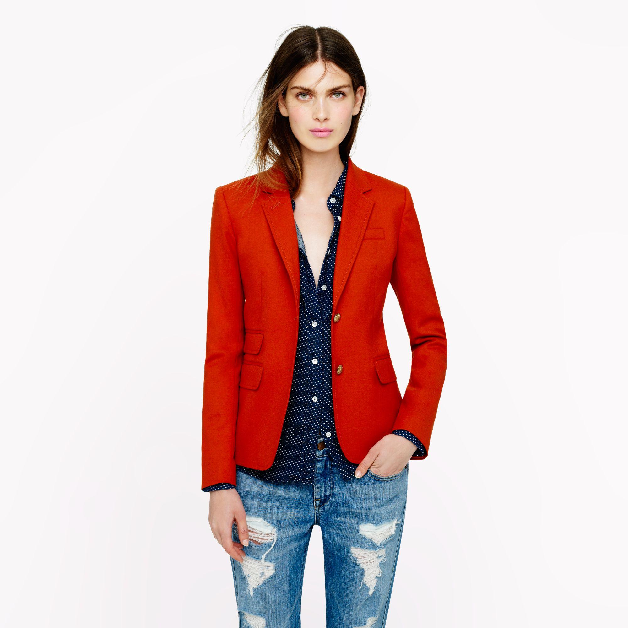J.crew New Schoolboy Blazer In Wool Flannel In Red