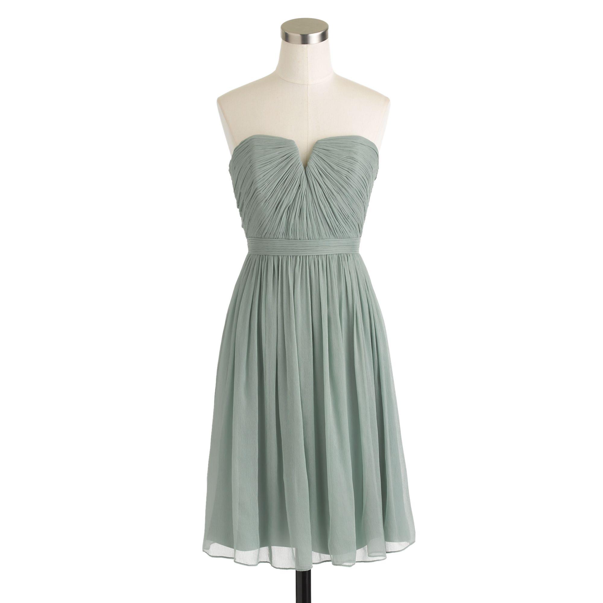 Petite nadia dress in silk chiffon in gray dusty for Silk chiffon wedding dress