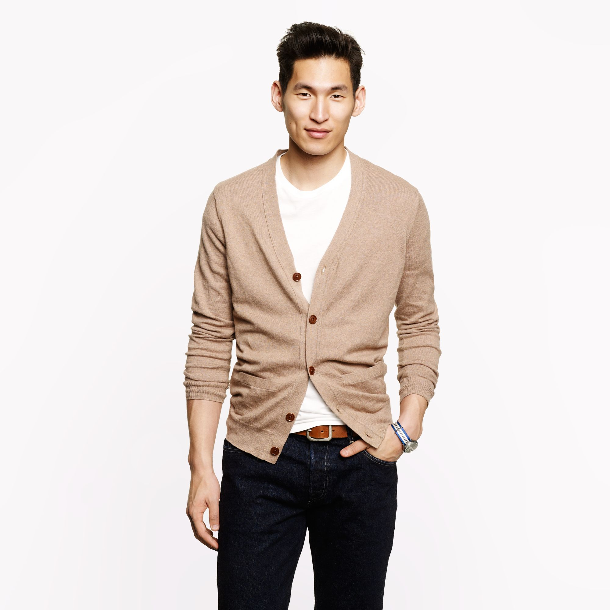 Cottoncashmere cardigan in brown for men lyst for J crew mens outfits