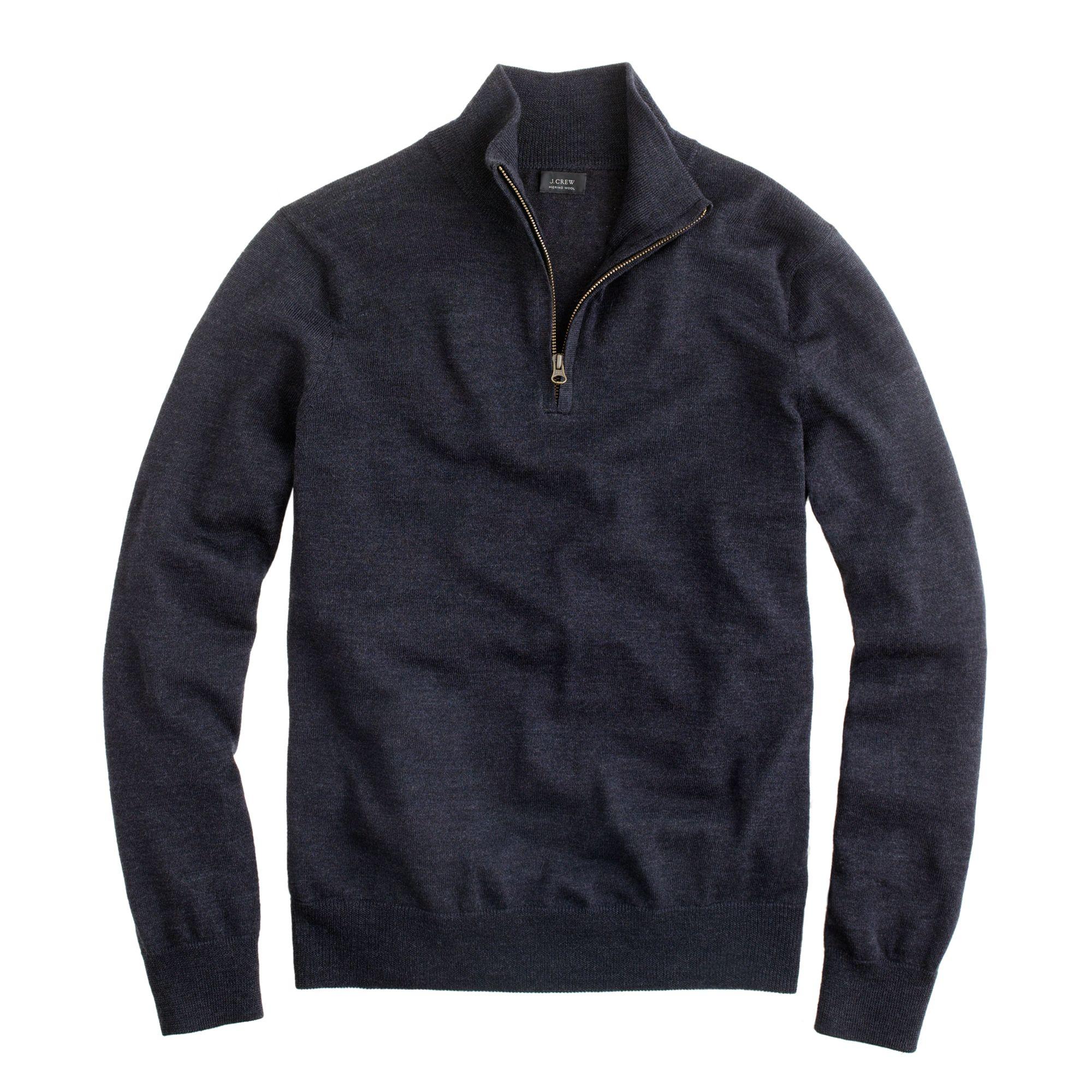 Merino Wool Half Zip Sweater - Long Sweater Jacket