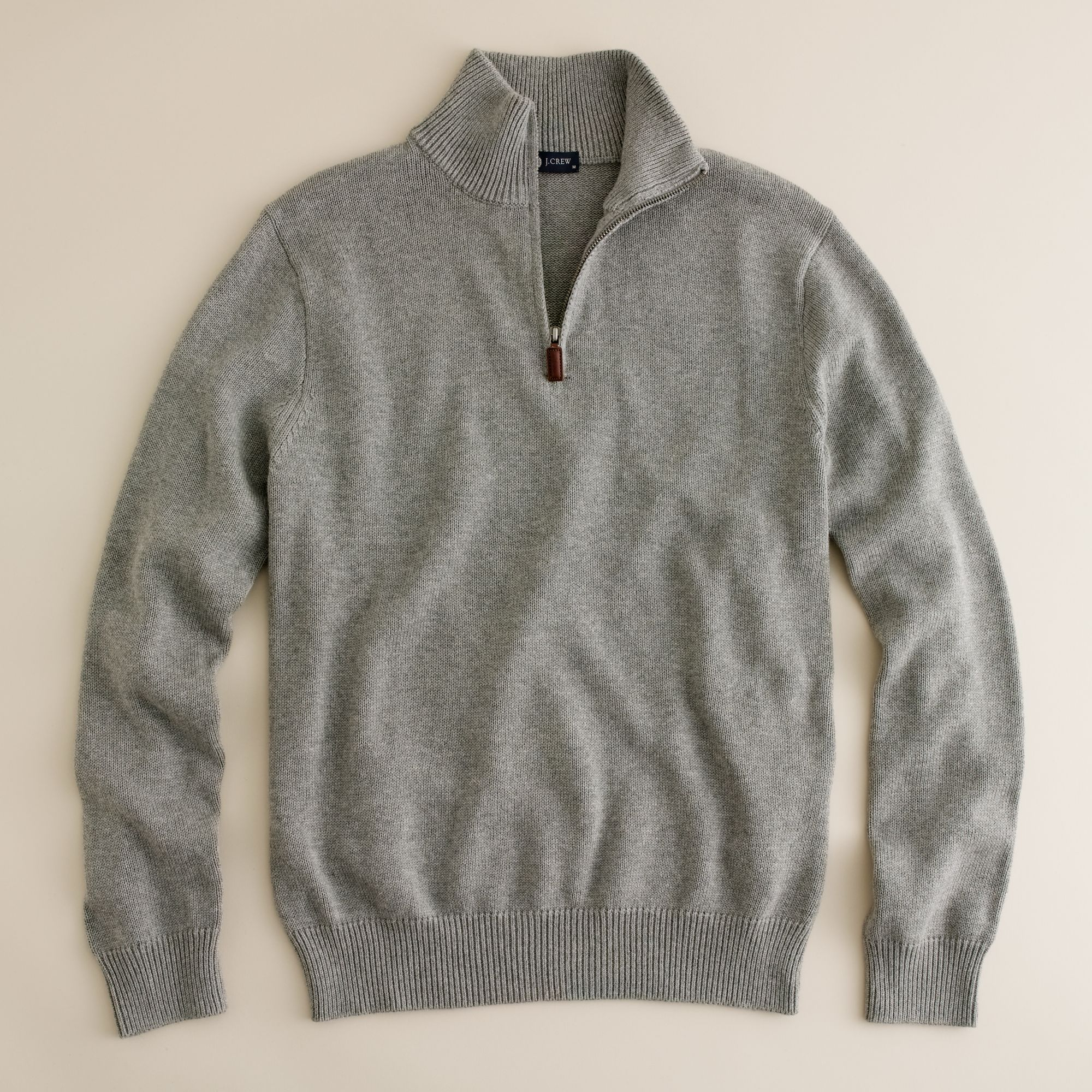 J.crew Tall Cotton-cashmere Half-zip Sweater in Gray for ...