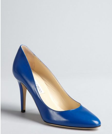Jimmy choo royal blue leather victory round toe pumps in blue lyst