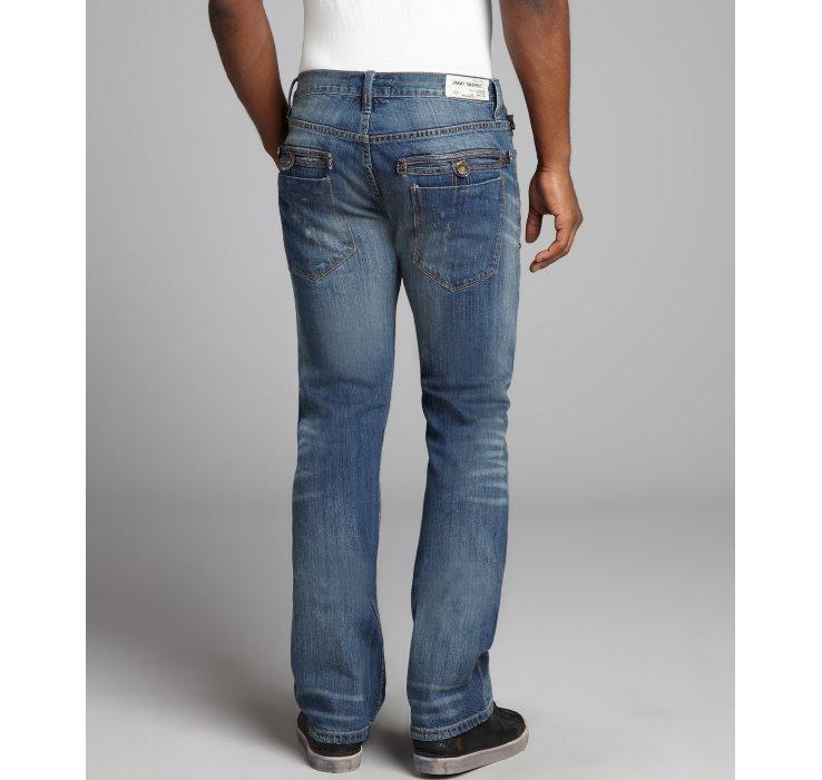 Jimmy taverniti Luxe Stretch Denim Destroy Bootcut Jeans in Blue ...