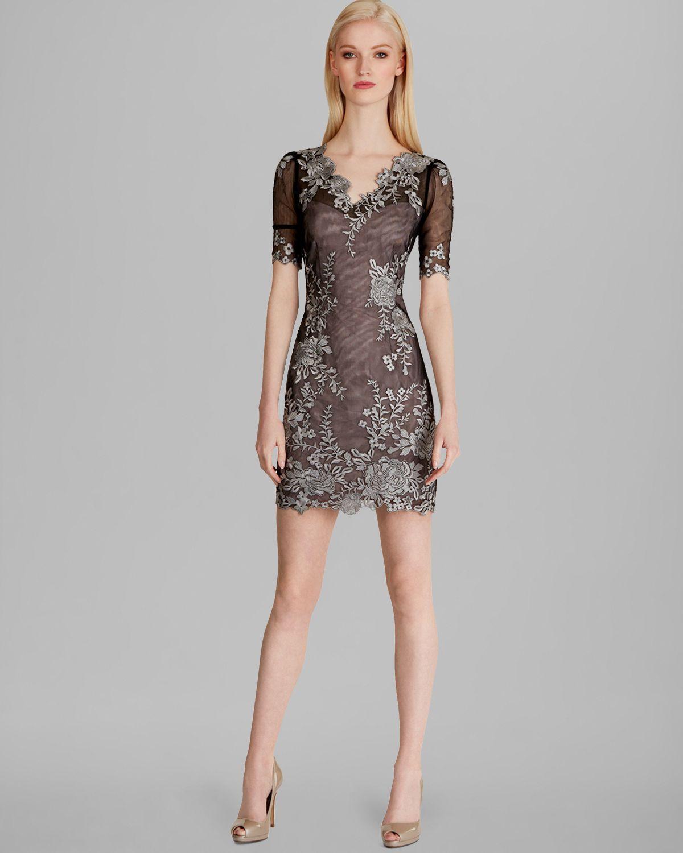 Karen millen dress lace embroidery in gray black multi