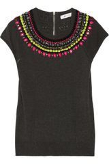 Milly Catherine Embellished Fineknit Sweater - Lyst