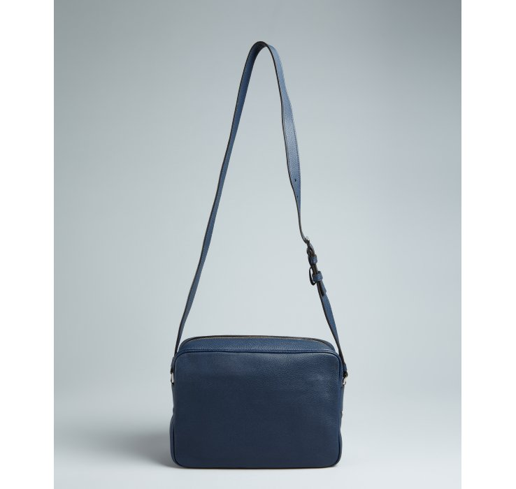 Prada Baltic Blue and White Pebbled Leather Crossbody Retro Style ...