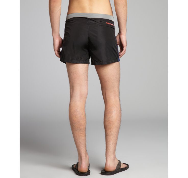 778364307956c Prada Sport Black and Grey Nylon Swim Trunks in Black for Men - Lyst