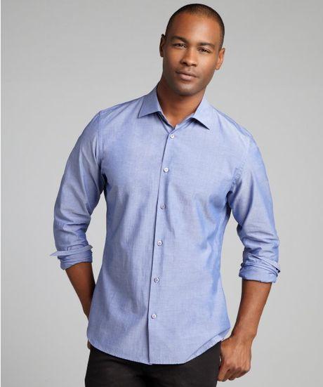 Prada medium blue cotton spread collar dress shirt in blue for What is a spread collar shirt