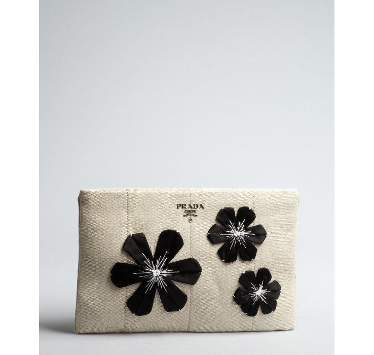 Prada Cream Canvas and Applique Flower Zip Clutch in Beige (cream ...