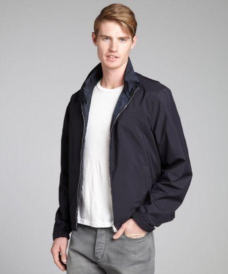 Prada Navy Reversible Zip Front Rain Jacket In Blue For