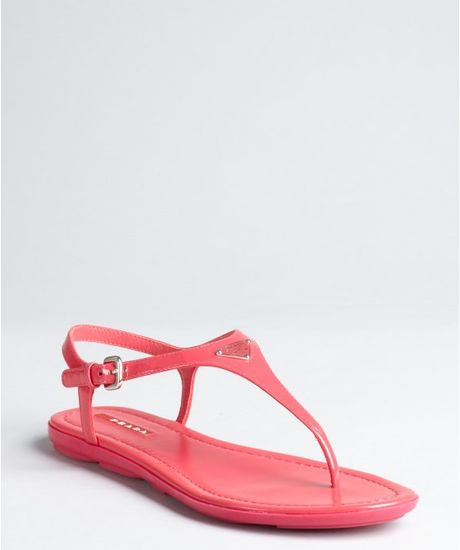 prada sport pink patent leather logo sandals in pink