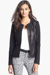 Rebecca Taylor Leather Panel Jacket - Lyst