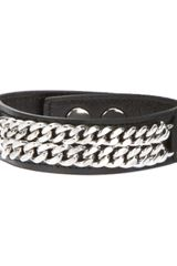 Saint Laurent Interwoven Chain Cuff Bracelet - Lyst